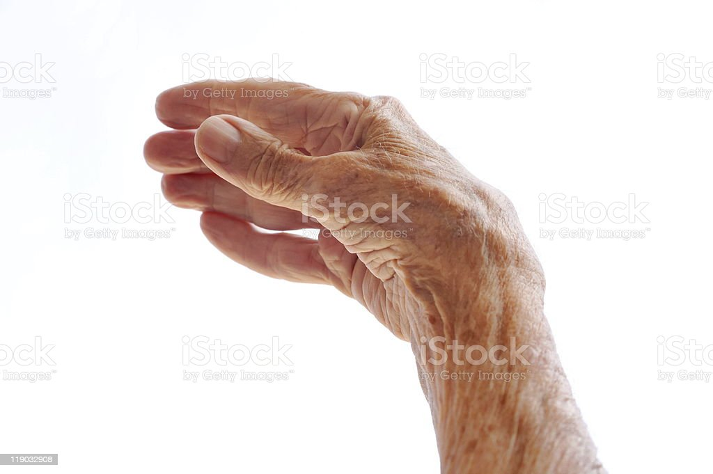 Senior woman's hand isolated on white royalty-free stock photo