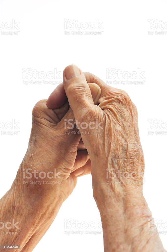 Senior woman's hands isolated on white royalty-free stock photo
