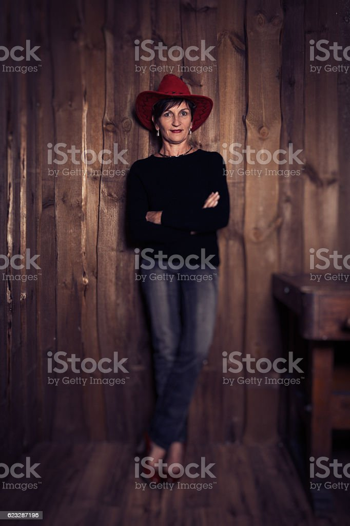 Senior woman's studio portrait stock photo