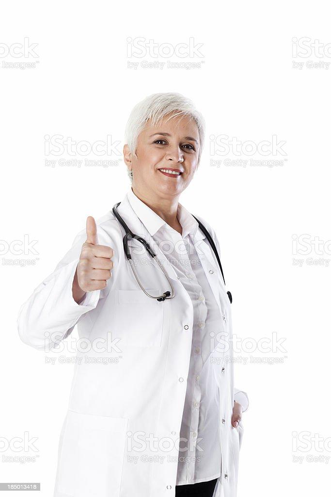 Senior Women Doctor Thumbs Up royalty-free stock photo