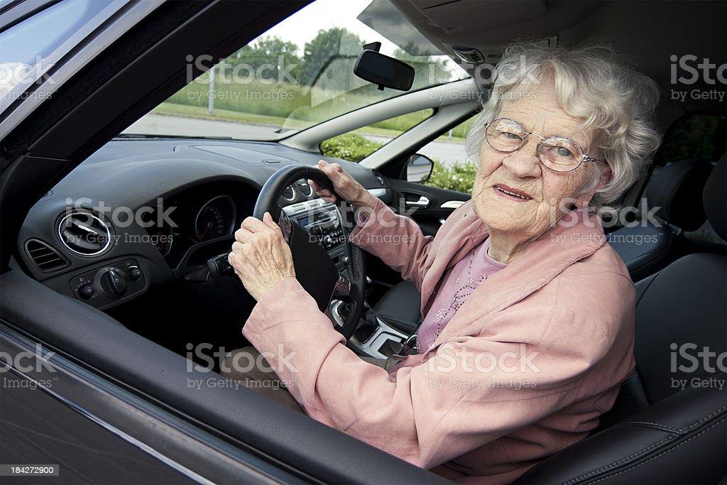 Senior women driver royalty-free stock photo