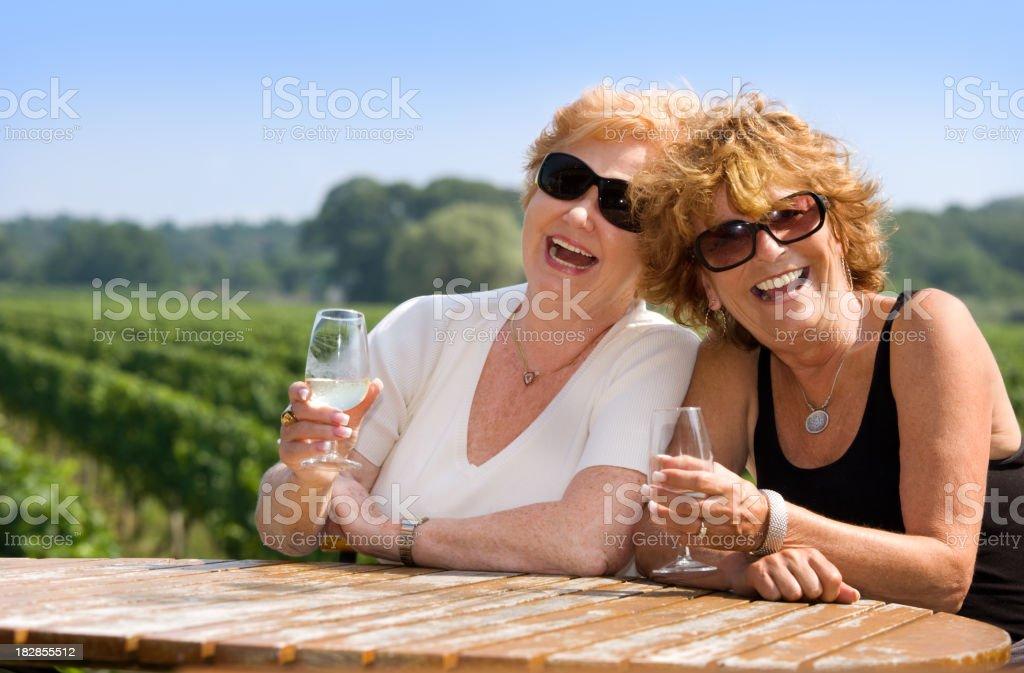 Senior women enjoying and laughing royalty-free stock photo