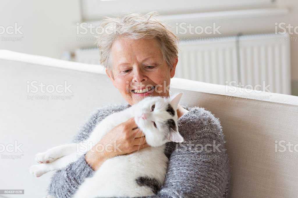 senior women happy with her cat stock photo