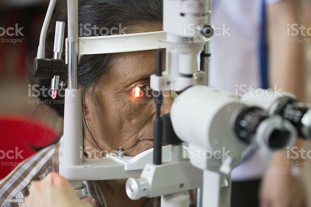 Senior women having eye examination. stock photo