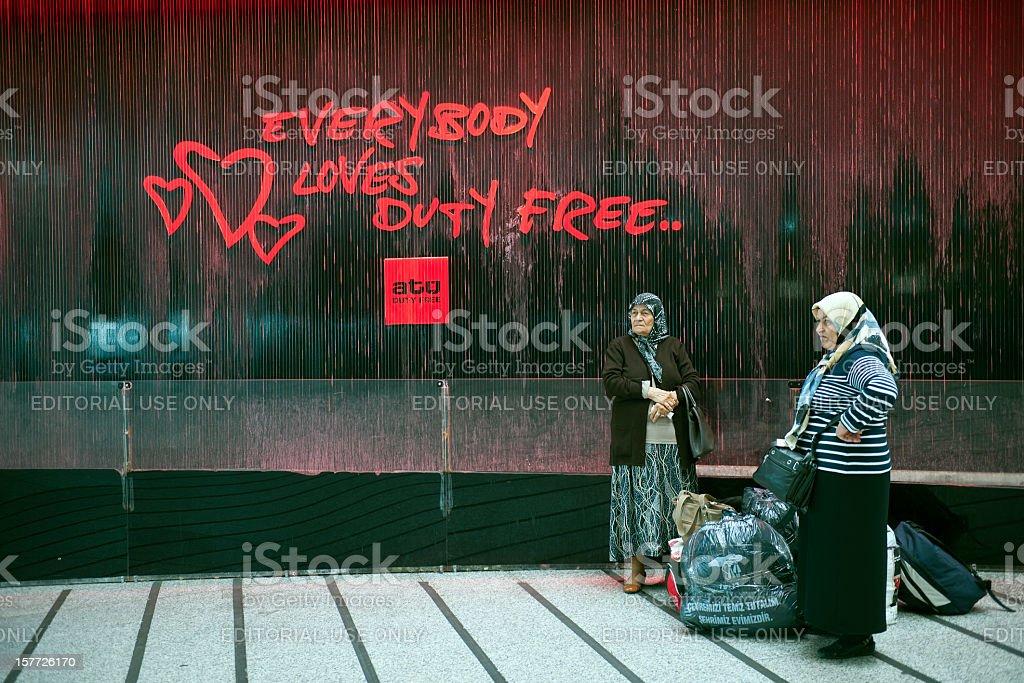 Senior Women in Ataturk Airport Turkey royalty-free stock photo