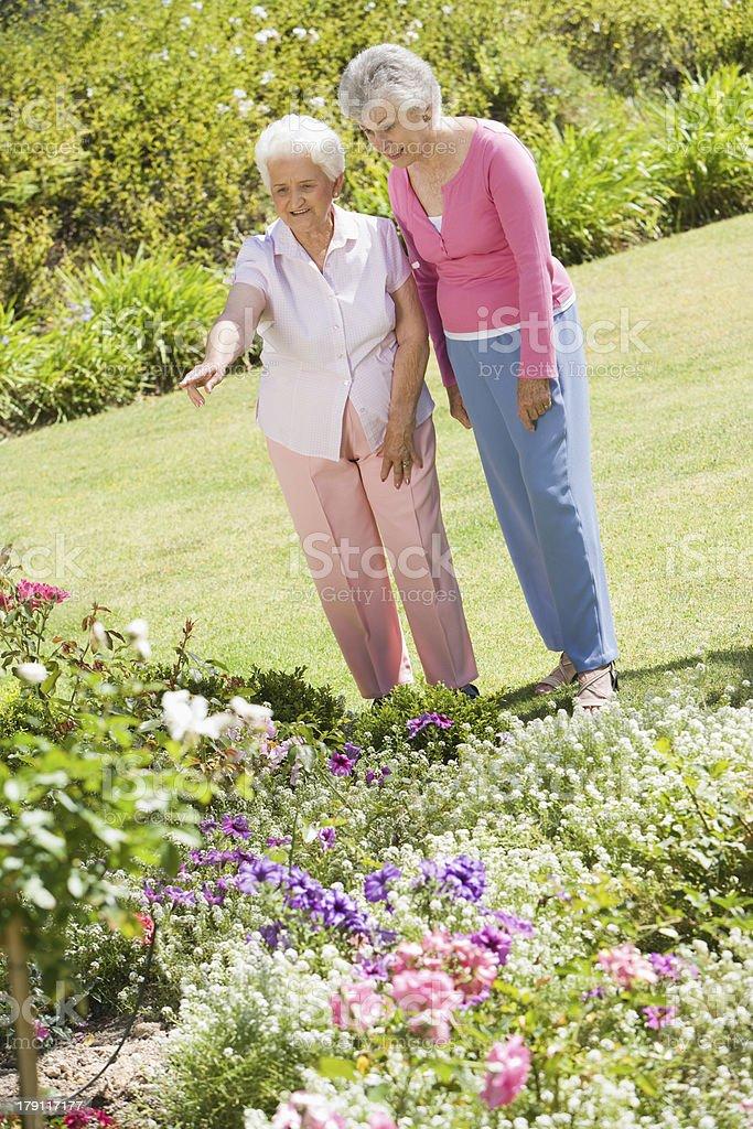 Senior women in garden royalty-free stock photo
