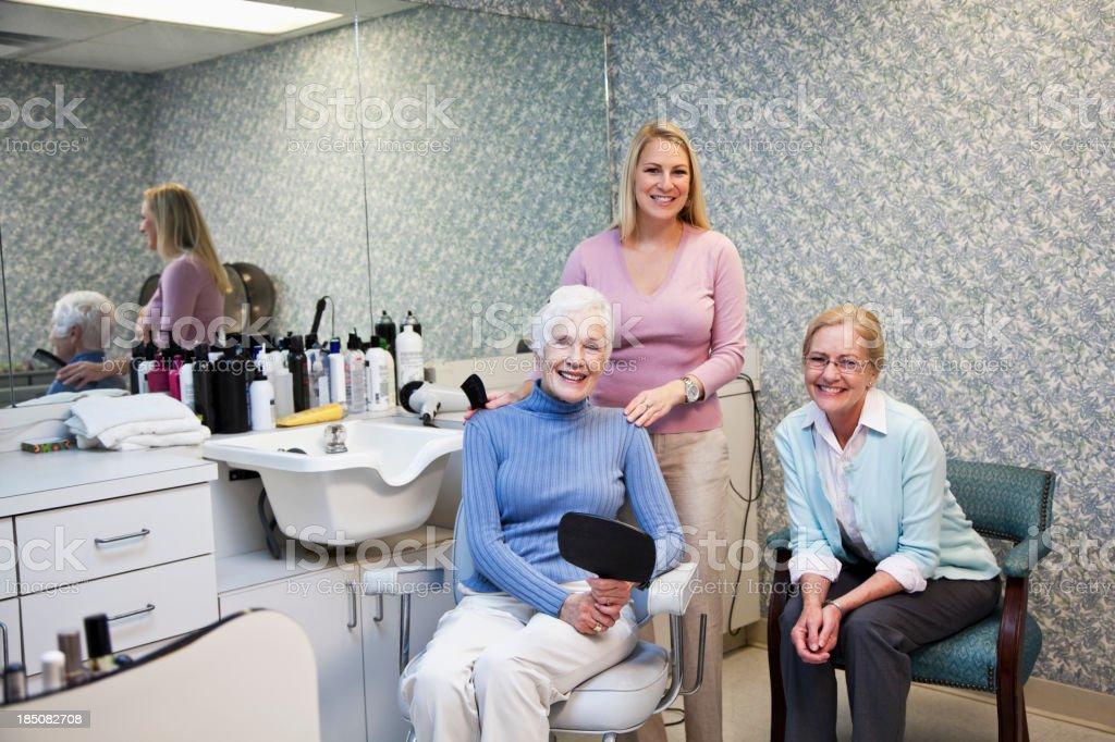 Senior women in hair salon stock photo
