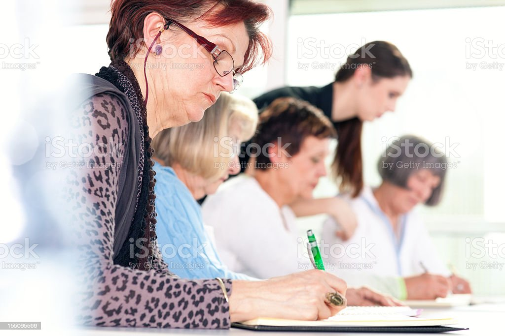 Senior women in the community center stock photo
