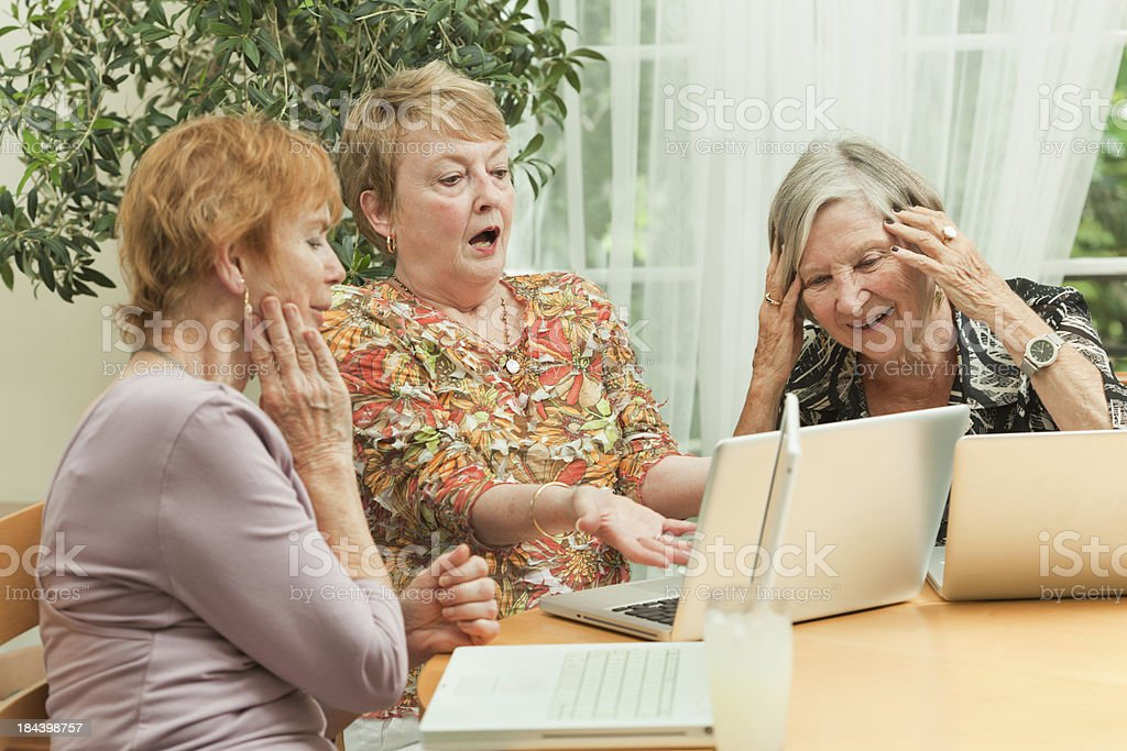Senior Women Learning Computer Together in Social Gathering royalty-free stock photo