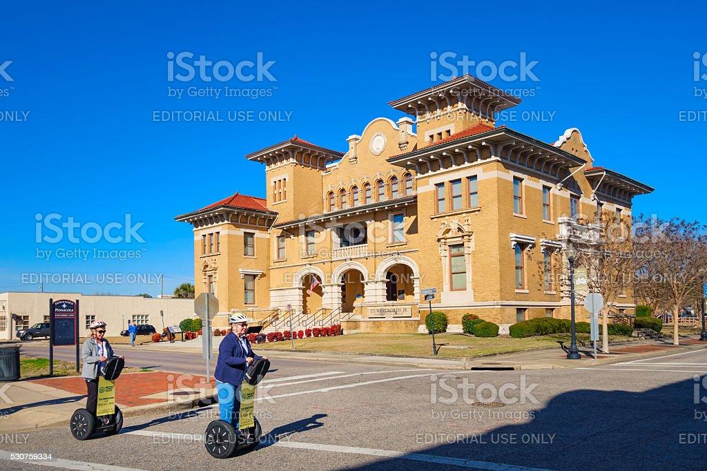 Senior Women Ride on Segways in Pensacola Florida USA stock photo