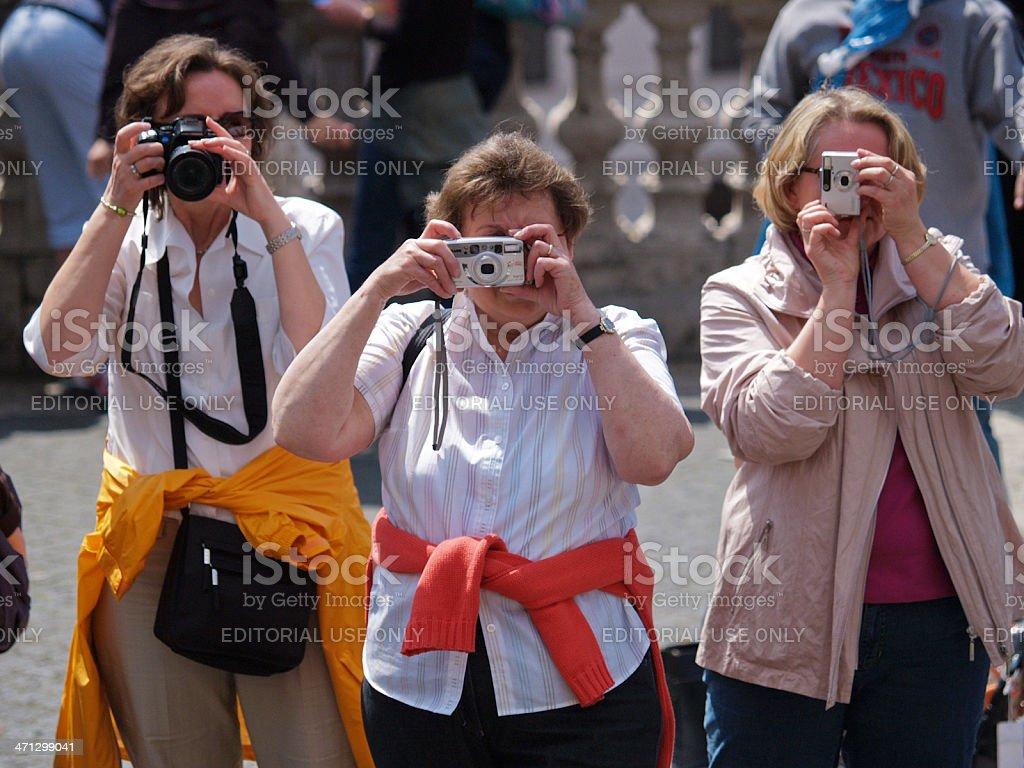 Senior women taking photo royalty-free stock photo