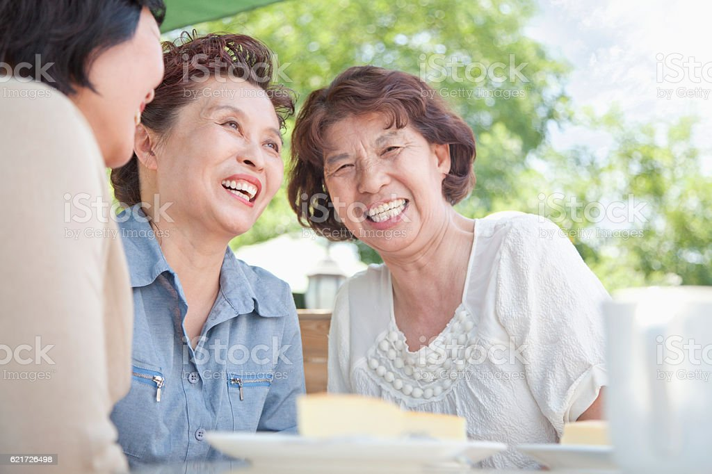 Senior women talking together at lunch stock photo