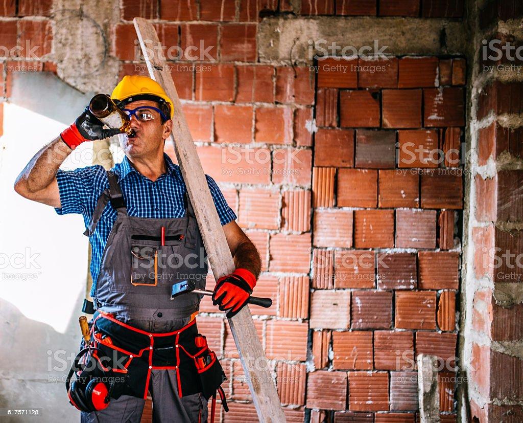 Senior worker taking a break stock photo