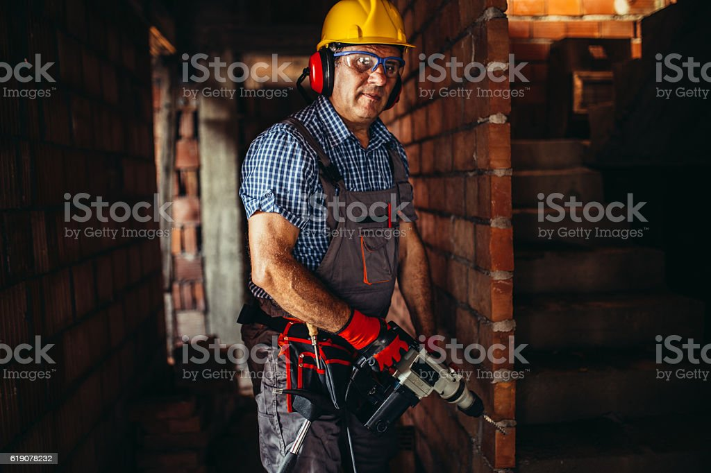 Senior worker working stock photo