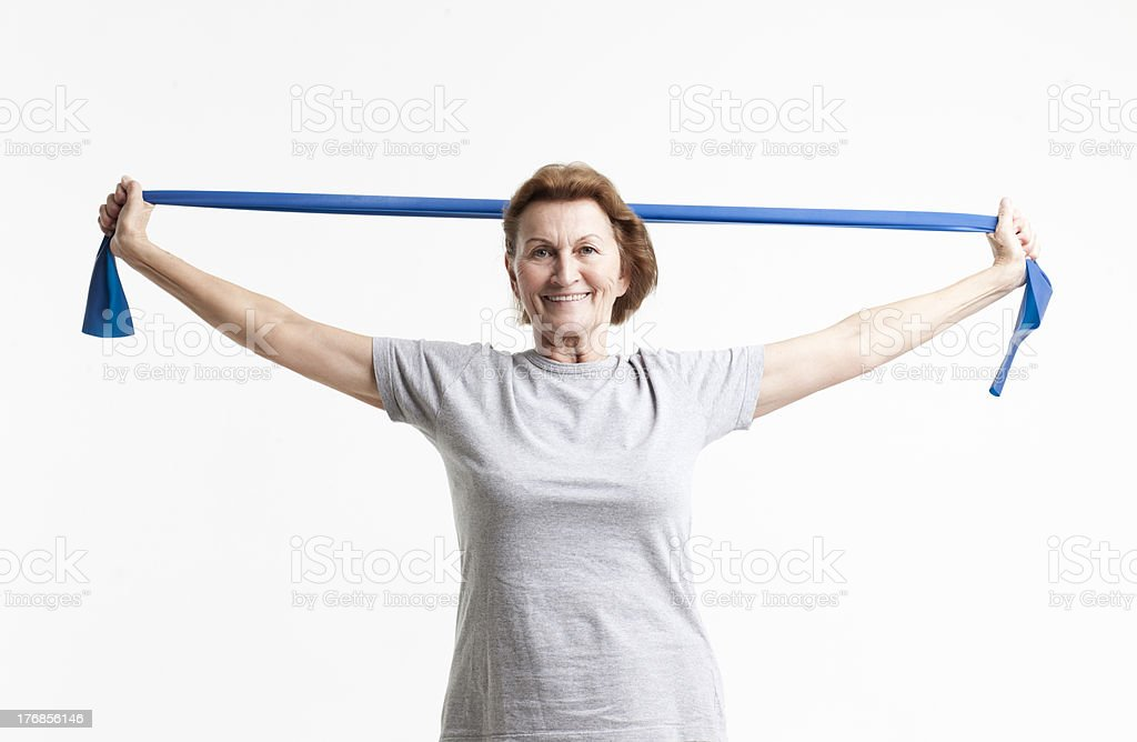 senior working out stock photo