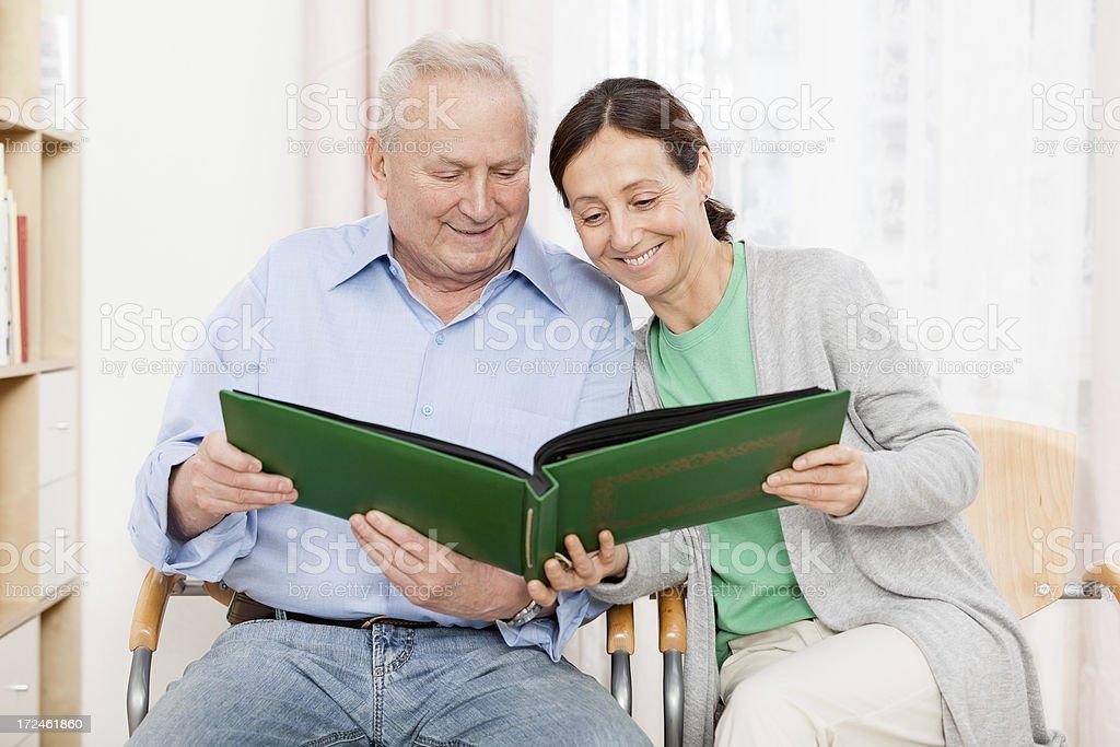 Seniorman and caregiver royalty-free stock photo