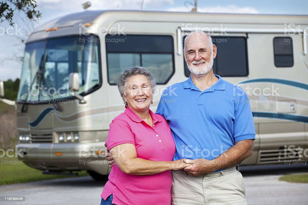 Seniors and Luxury Motor Home royalty-free stock photo