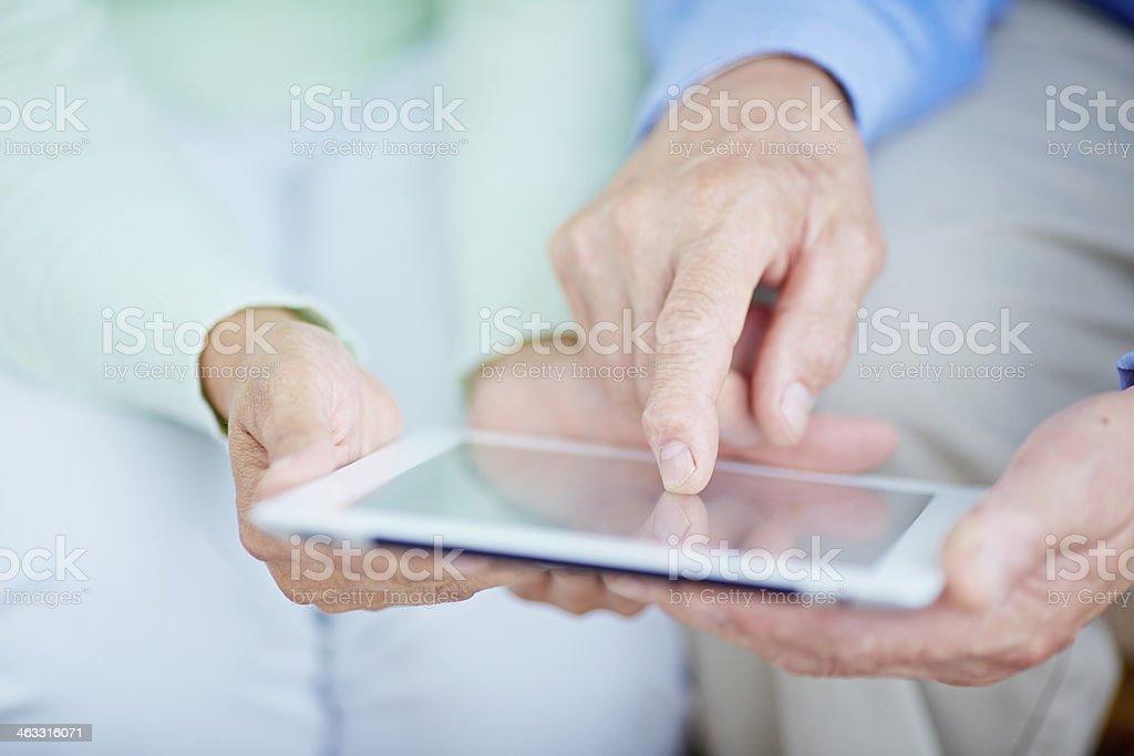 Seniors and technology royalty-free stock photo