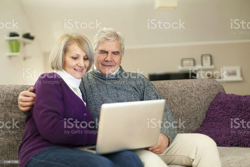 Seniors are online royalty-free stock photo