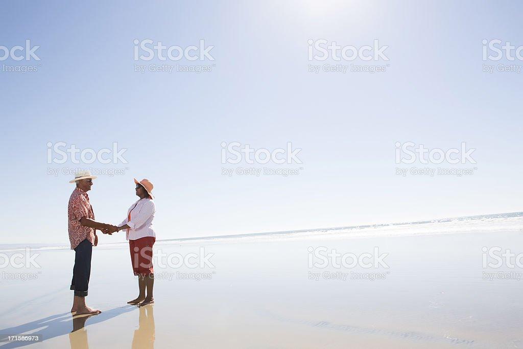 Seniors at the beach stock photo