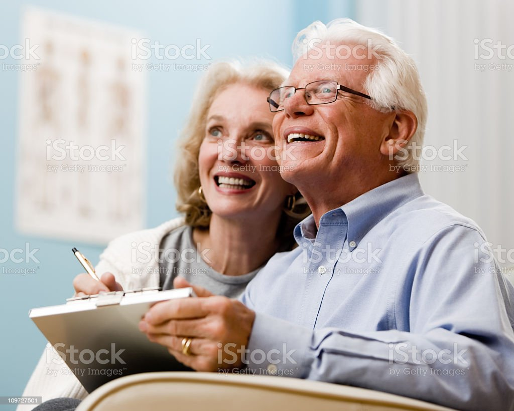 Seniors at the Doctor stock photo