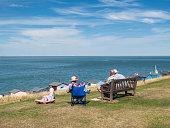 Seniors at the seaside in Britain.
