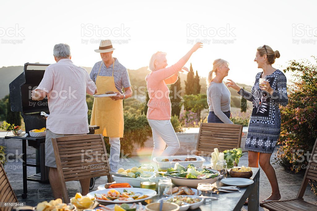 Seniors BBQ stock photo