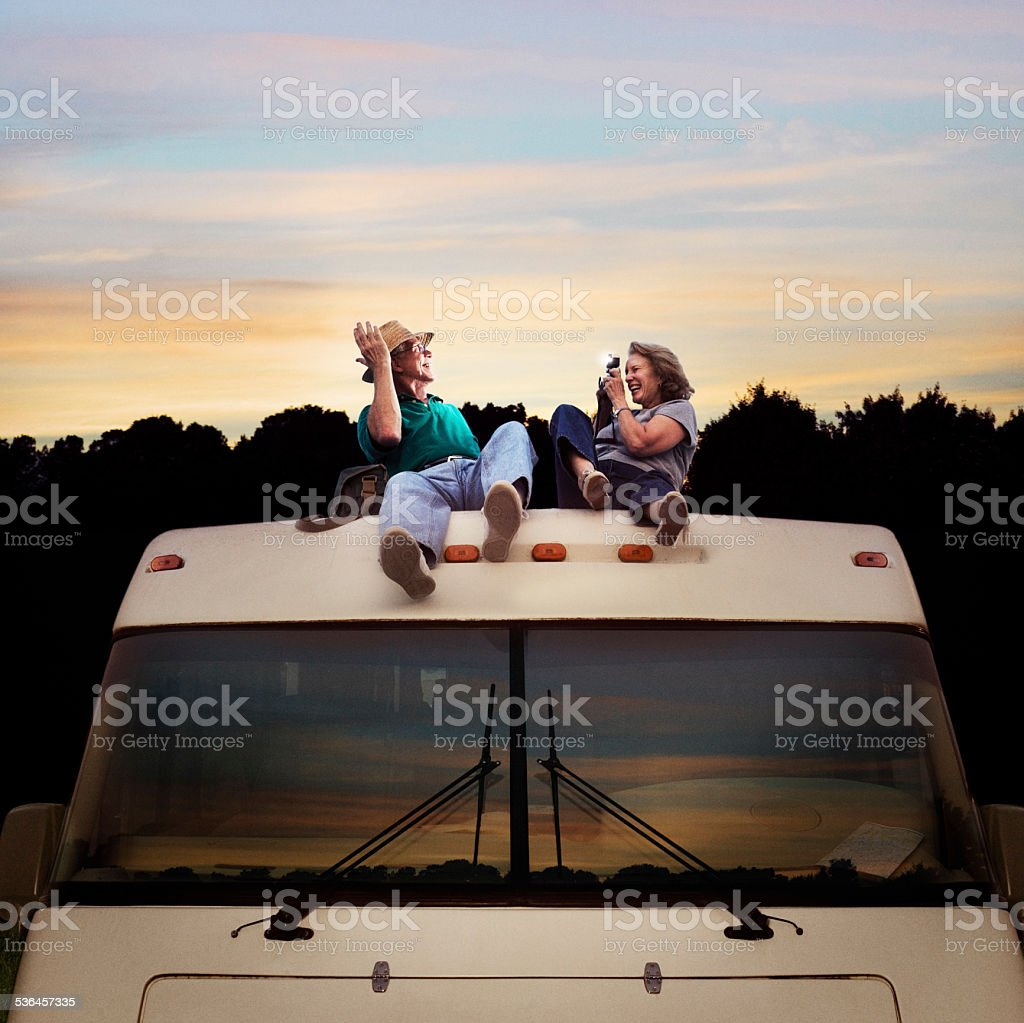 Seniors Camping stock photo