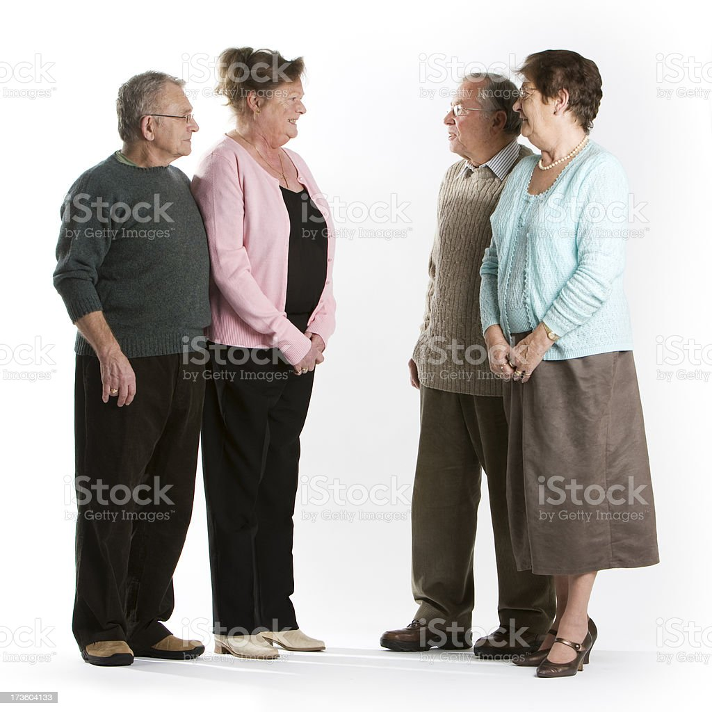 seniors: chatting pensioners stock photo