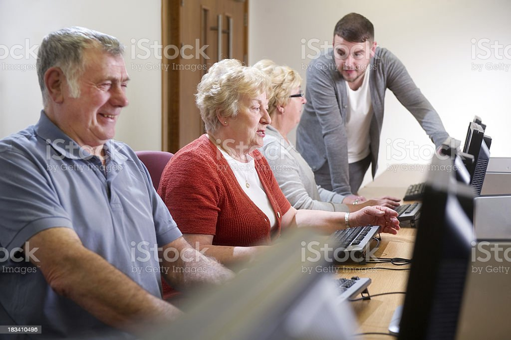 seniors computer class royalty-free stock photo