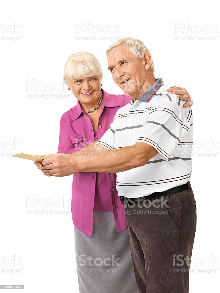 Seniors couple presents card royalty-free stock photo