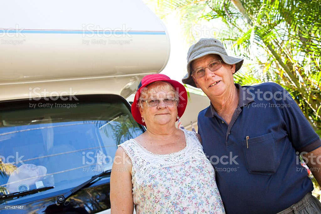 Seniors Couple with RV Motorhome royalty-free stock photo