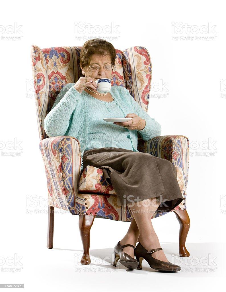 seniors: drinking tea royalty-free stock photo