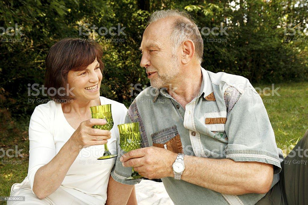 Seniors enjoying picnic royalty-free stock photo
