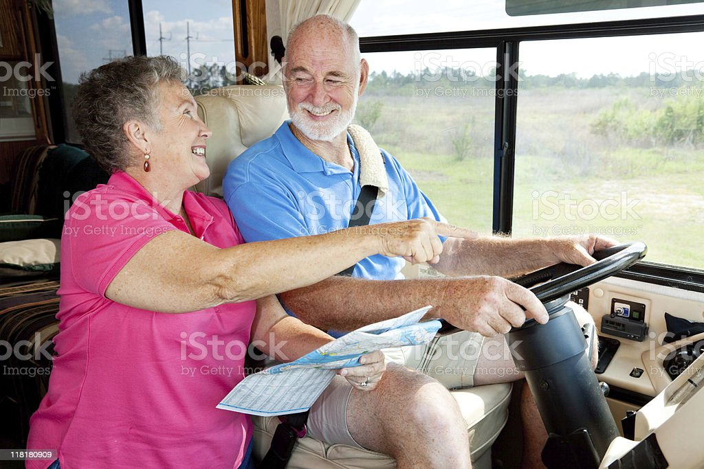 RV Seniors - Giving Directions royalty-free stock photo