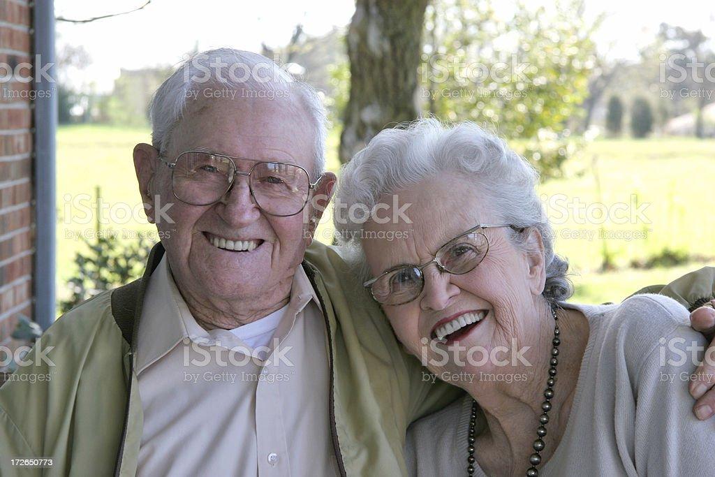 Seniors grinning. royalty-free stock photo