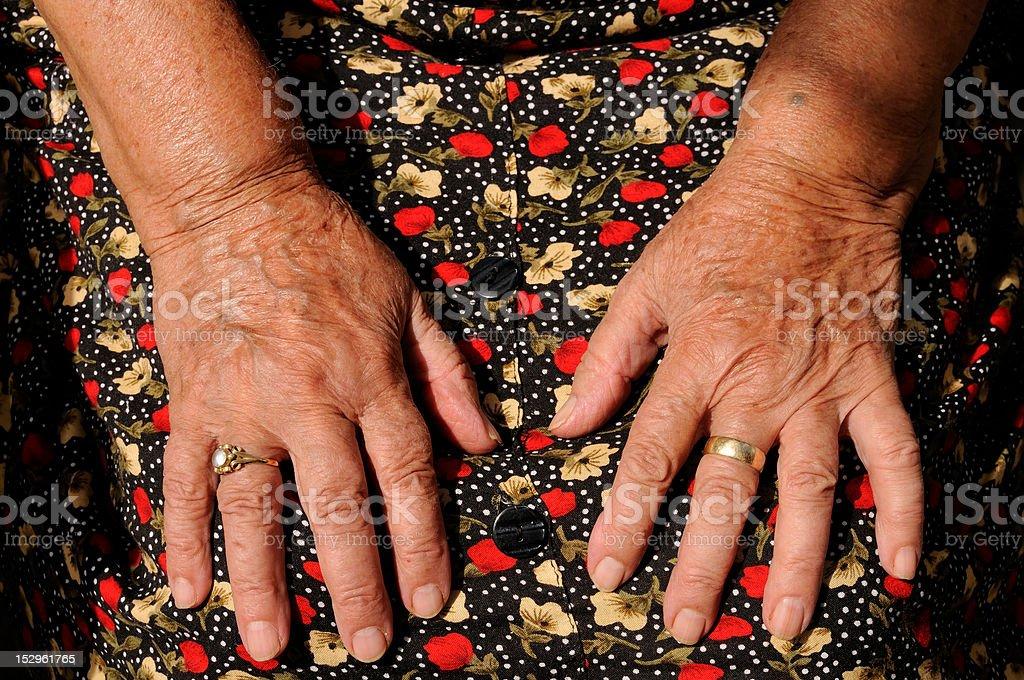 Senior's hands stock photo