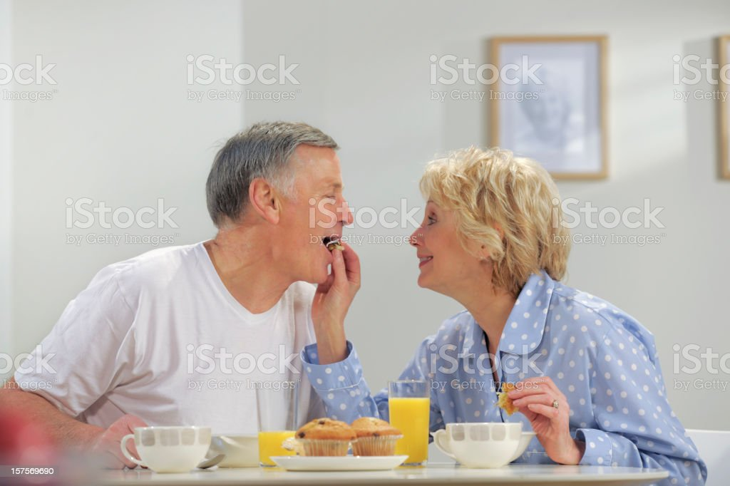 seniors having breakfast royalty-free stock photo