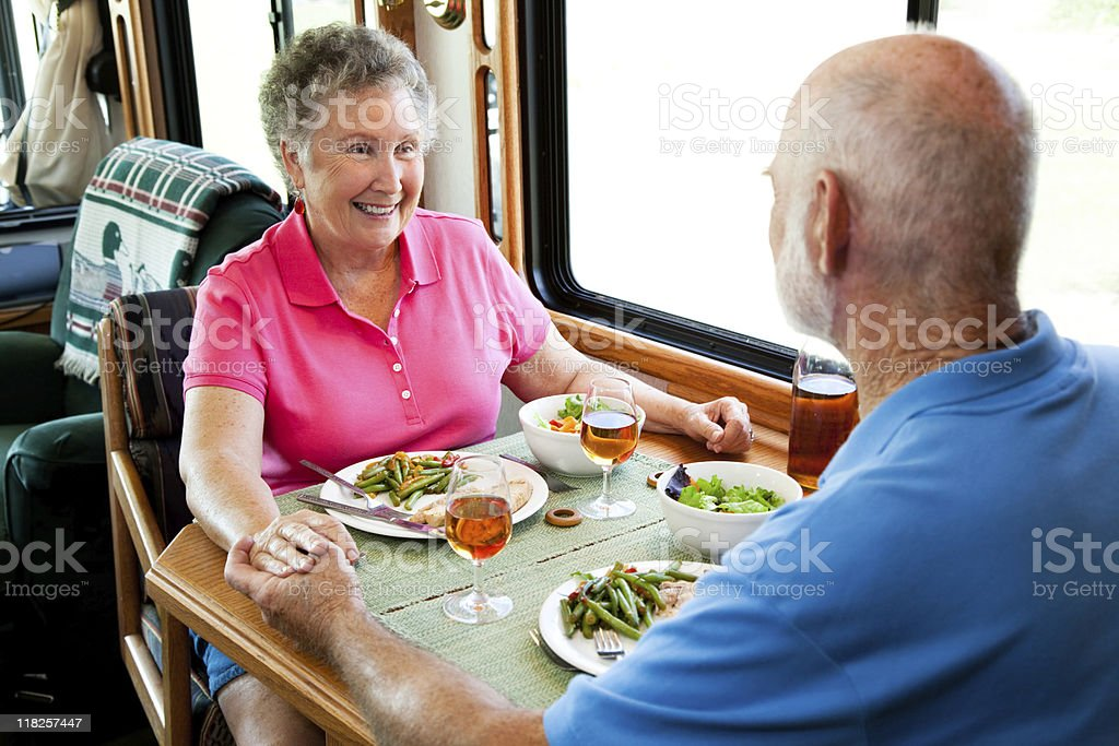 RV Seniors - Holding Hands royalty-free stock photo