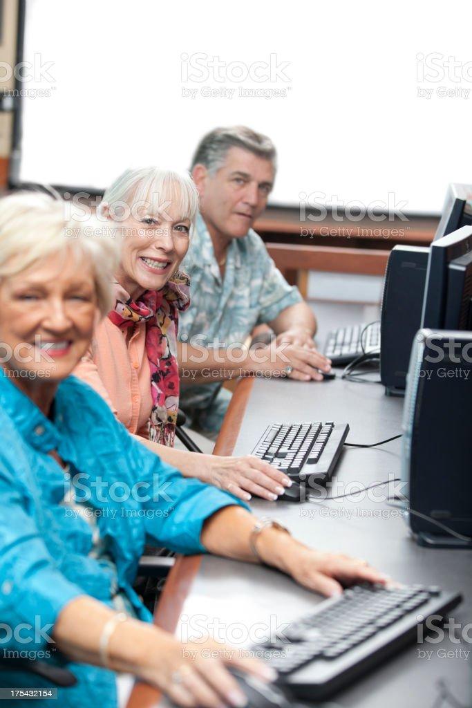 Seniors in a Computer Classroom stock photo