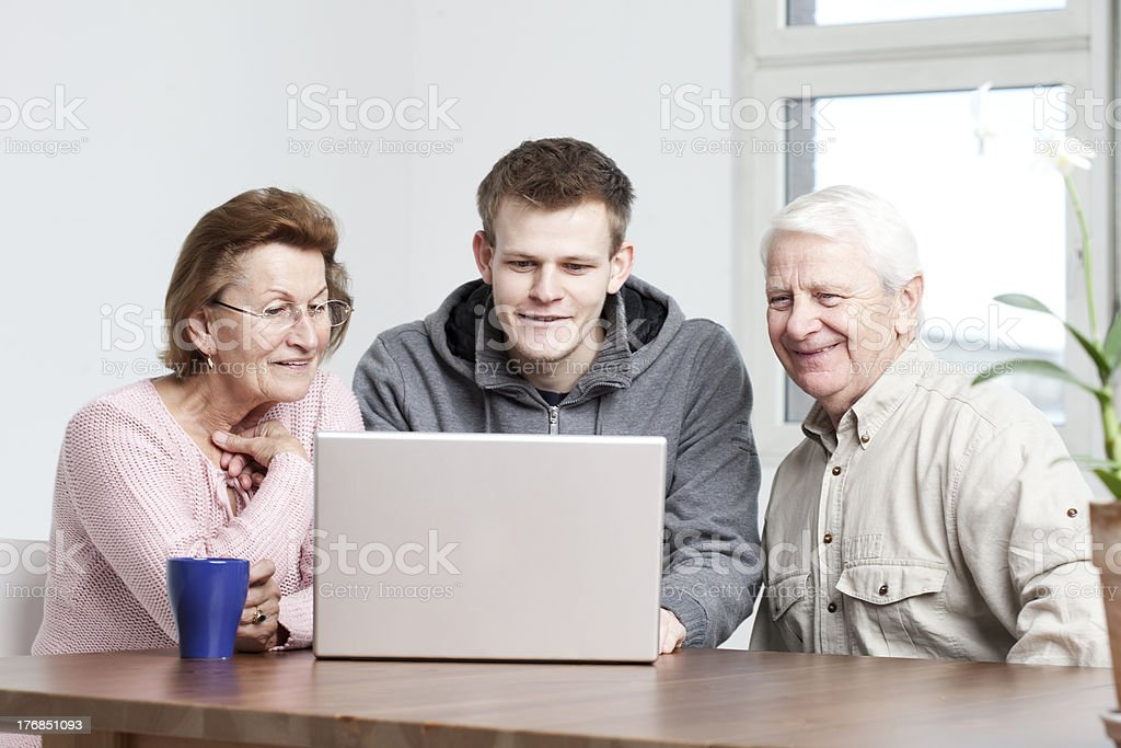seniors in a computer lesson royalty-free stock photo