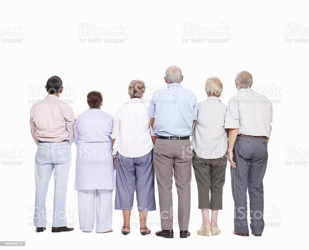Seniors in a line royalty-free stock photo