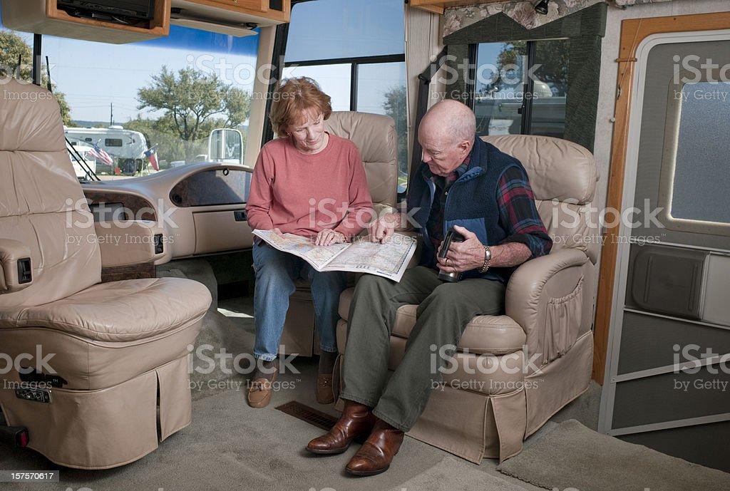 Seniors in Motorhome stock photo