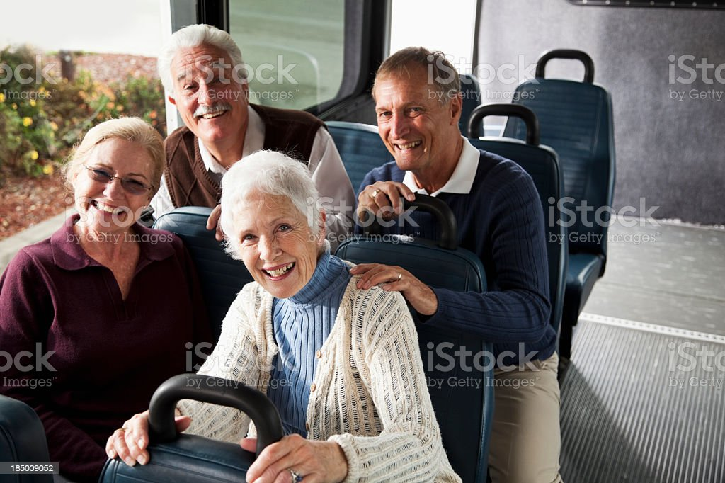 Seniors in shuttle bus stock photo