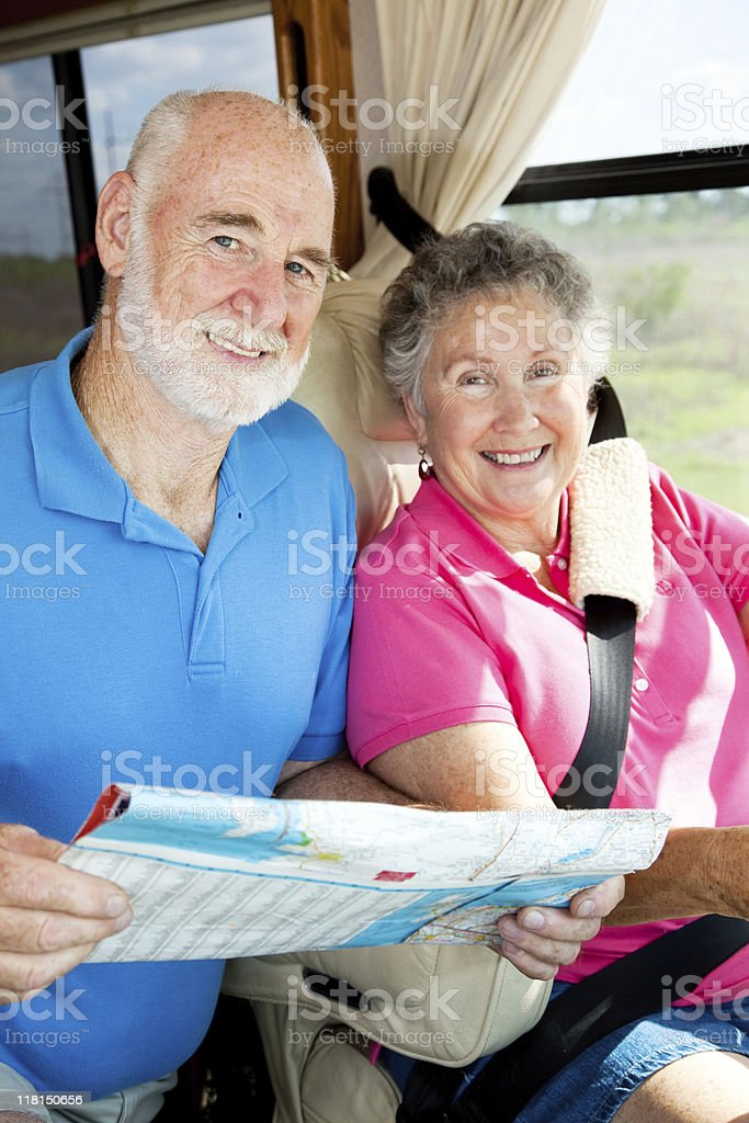 RV Seniors - In the Cockpit royalty-free stock photo