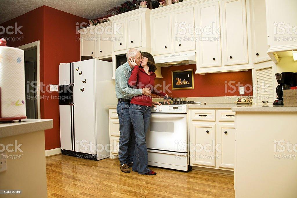 Seniors in the kitchen royalty-free stock photo