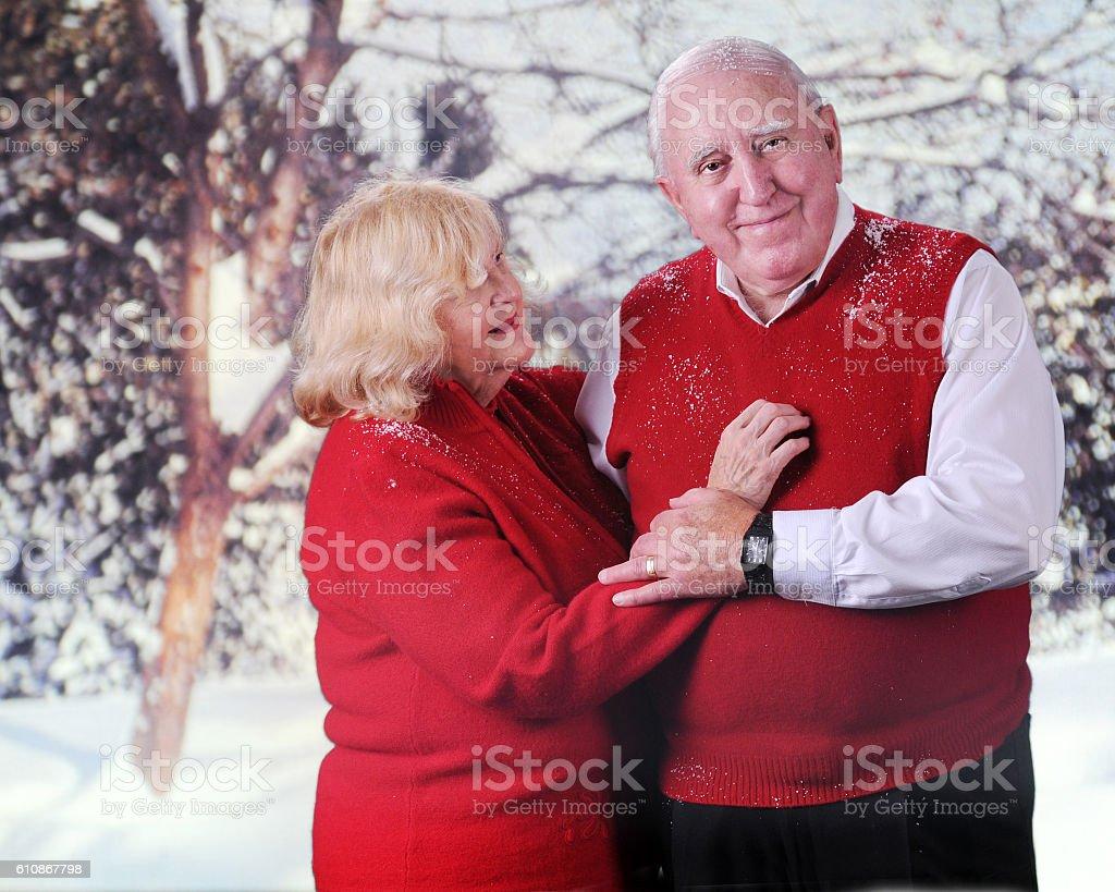 Seniors in the Snow stock photo