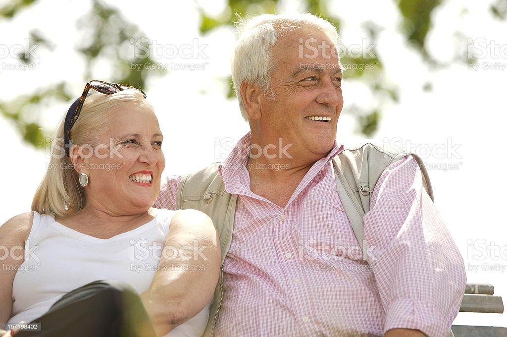 Seniors looking faraway royalty-free stock photo