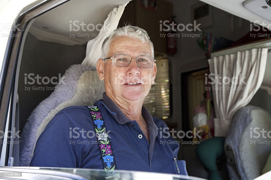 Seniors Man Driving Motorhome royalty-free stock photo