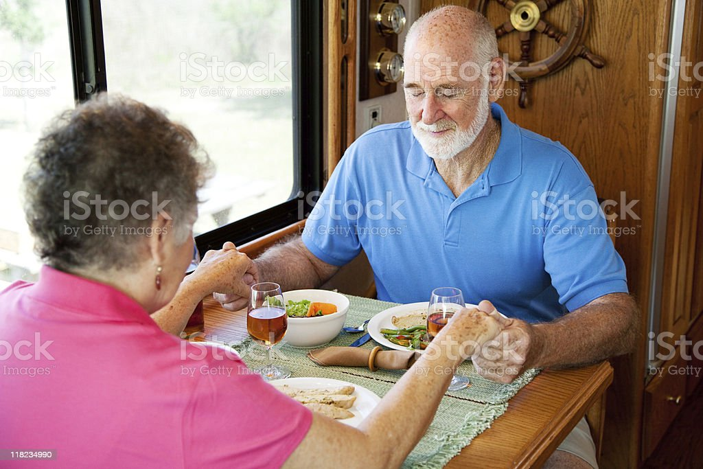 RV Seniors - Mealtime Prayer stock photo